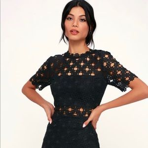 Heartfelt Black Lace Bodycon Midi Dress 👗